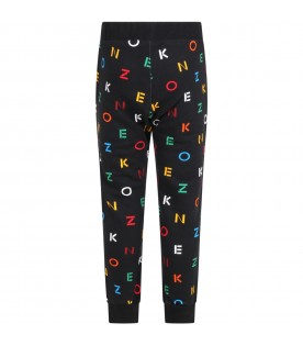 Black sweatpants for kids with logos