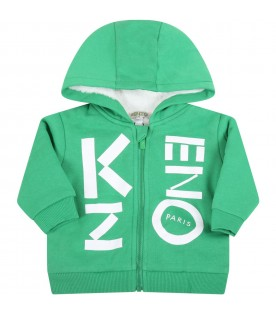 Green sweatshirt for kids with logo