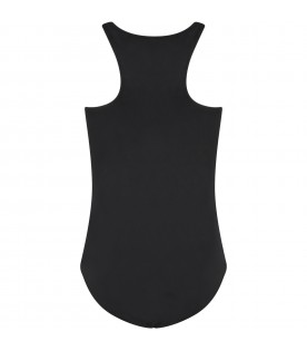 Black swimsuit for girl with logo