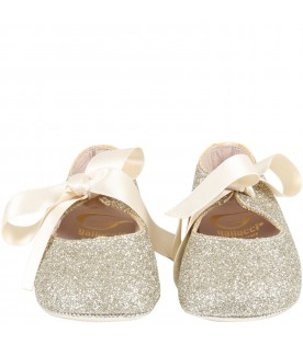 Gold ballerina shoes for babygirl