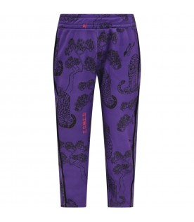 Purple trouser for kids with tigers