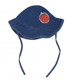 Blue sun hat for babygirl with strawberry