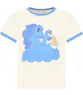 Ivory t-shirt for girl with unicorn