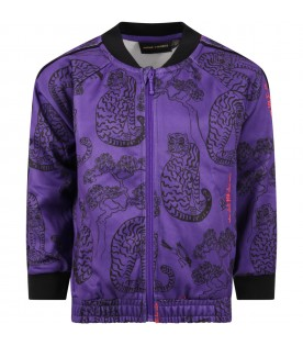 Purple sweatshirt for kids with tigers