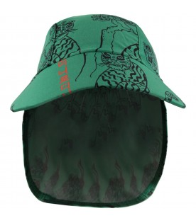 Green hat for babyboy with tigers