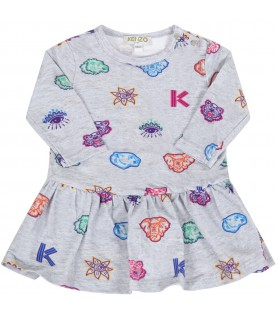 Grey dress for babygirl with prints
