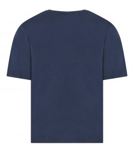 Blue t-shirt for kids with palm
