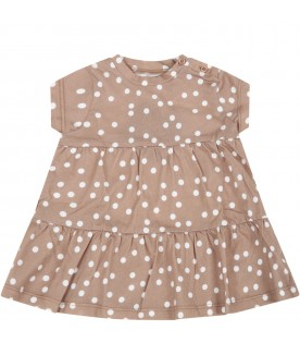 Beige dress for babygirl with polka-dots