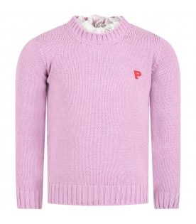Lilac sweater for girl with logo