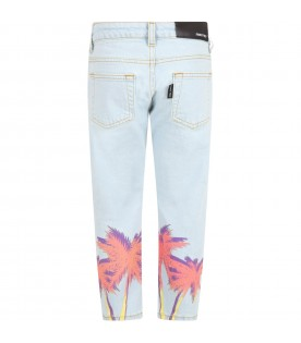 Light blue jeans for kids with palm trees