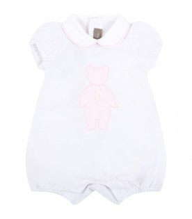 White romper for baby girl with bear