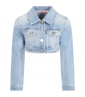 Light blue jacket for girl with logo