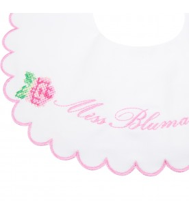 White bib for babygirl with roses