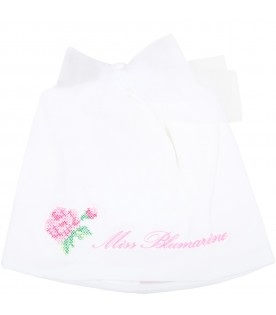 White hat for babygirl with logo