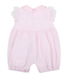 Pink romper for baby girl with logo