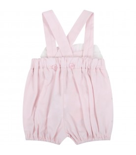 Pink dungarees for baby girl with logo
