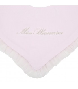 Pink bib for babygirl with logo