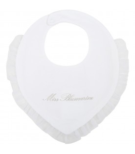 White bib for babygirl with logo