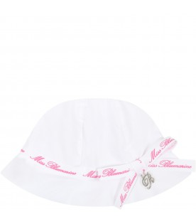 White sun hat for babygirl with logos