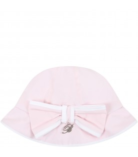Pink sun hat for babygirl with bow