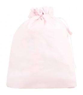 Pink bag for baby girl with logo