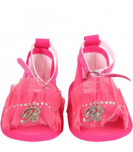 Fucshia sandals for baby girl with logo