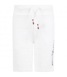 White shorts for boy with logo