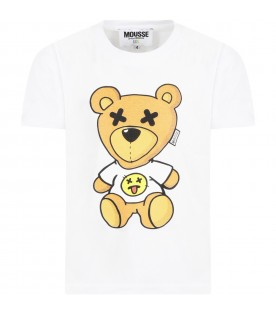 White t-shirt for kids with bear