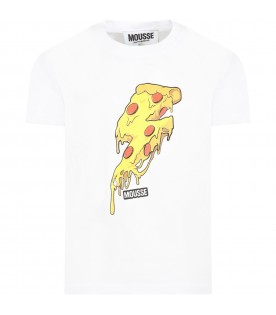 White t-shirt for kids with pizza