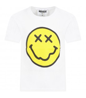 White t-shirt for kids with emoticon