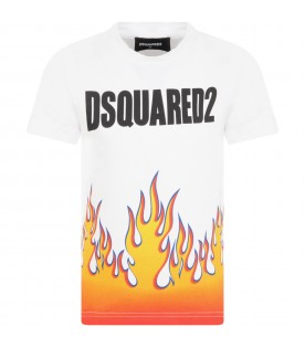 White t-shirt for boy with flames
