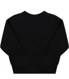 Black sweatshirt for babykids with logos