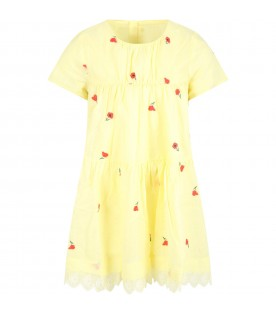 Yellow dress for girl with roses