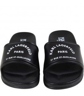 Black sandals for kids with logo