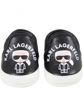 Black sneakers for baby kids with logo