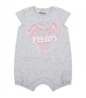 Grey romper for babygril with elephant