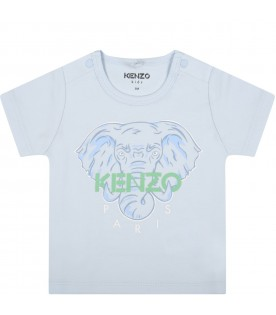 Light blue t-shirt for babyboy with elephant