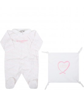 White set for babygirl with logos