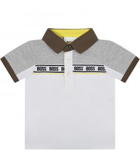 White polo shirt for babyboy with logos