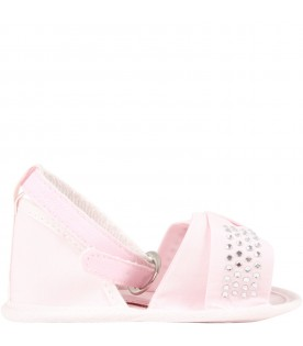 Pink sandals for baby girl with logo