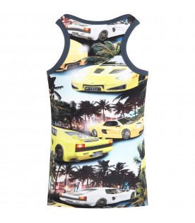Multicolor tank top for boy with cars