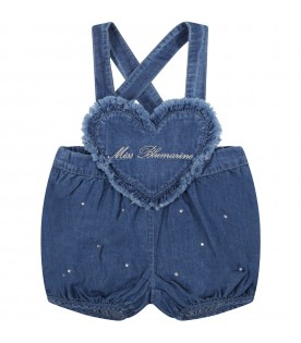 Blue dungarees for baby girl with logo