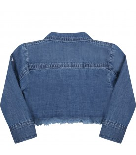 Blue jacket for babygirl with hearts