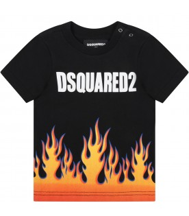Black t-shirt for babyboy with flames