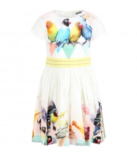 White dress for girl with parrots