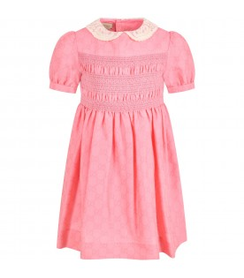 Pink dress for girl with double GG