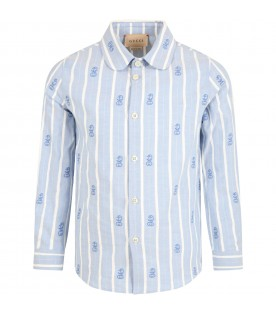 Light blue shirt for boy with anchors