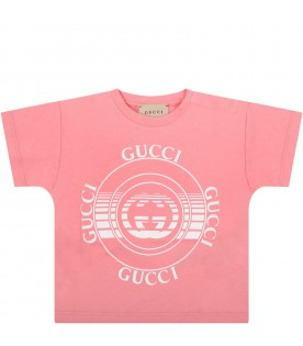Pink t-shirt for babygirl with logos