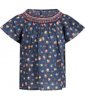 Blue blouse for girl with flowers
