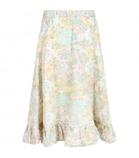 Multicolor skirt for girl with prints